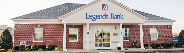 A photo of the front of the building of the Legends Bank branch building located on 1814 Tiny Town Road in Clarksville, Tennessee